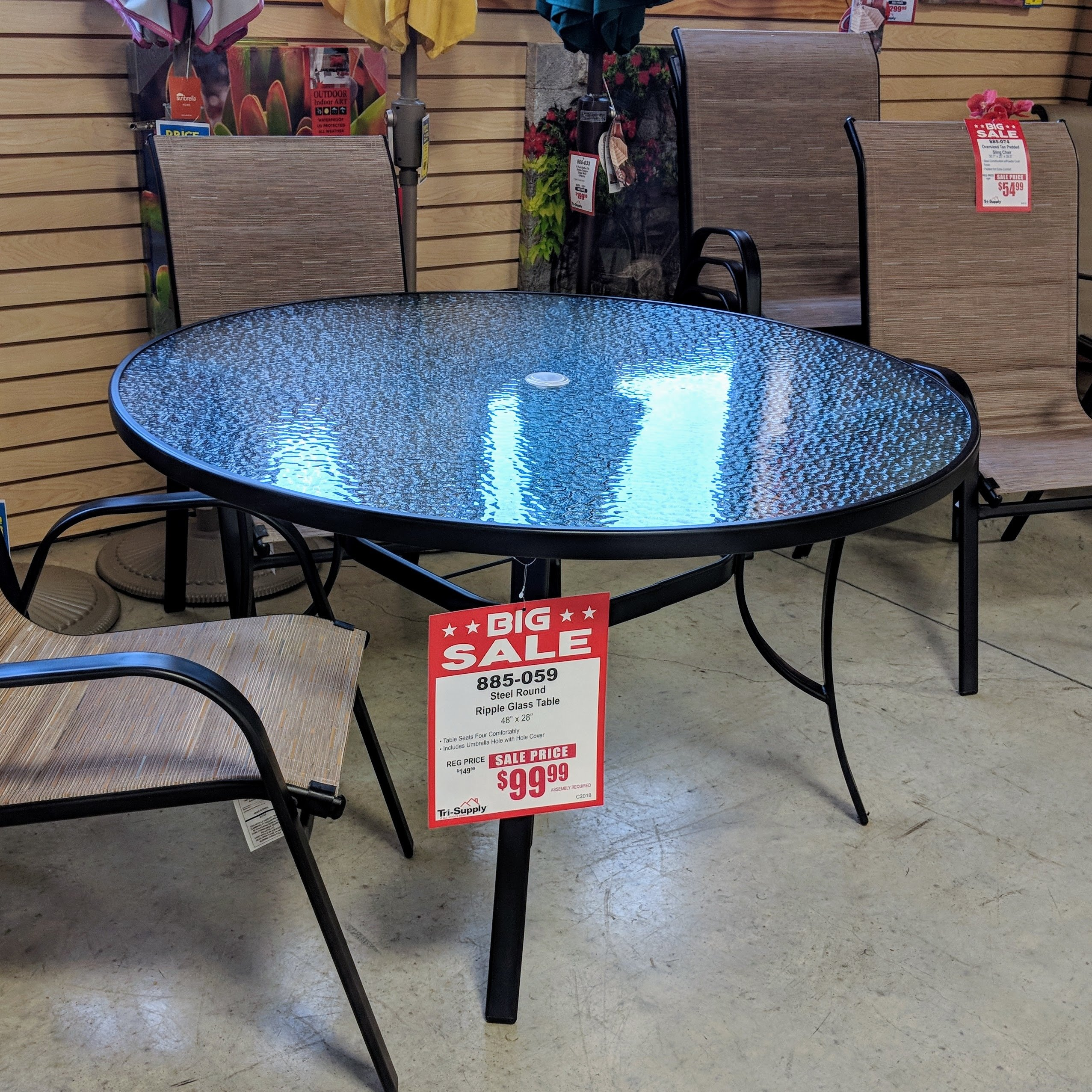 Steel Round Ripple Glass Table W-000025
