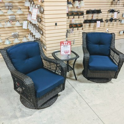 Wicker 3 Piece Swivel Glider Set with Blue Cushion
