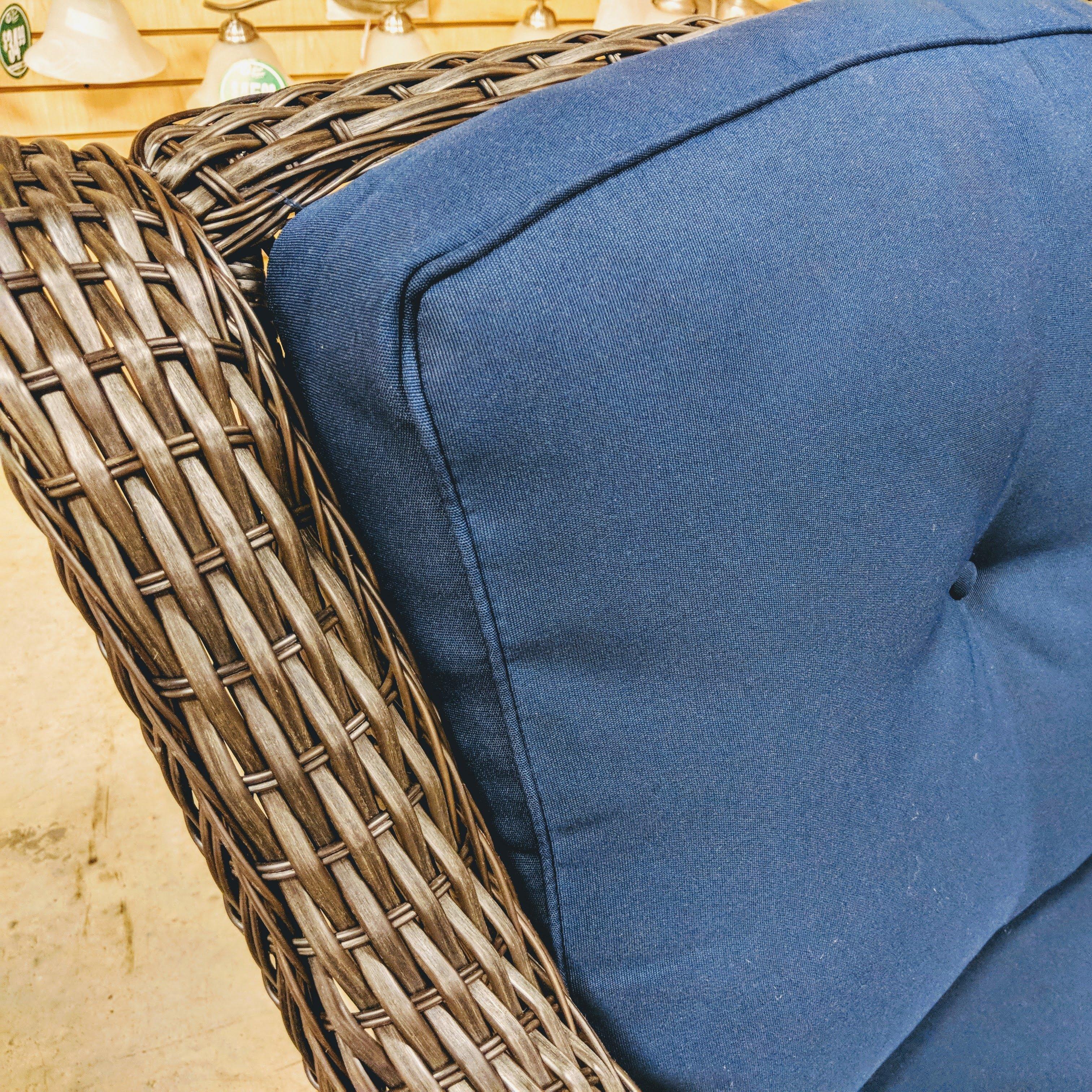 Wicker 3 Piece Swivel Glider Set with Blue Cushion