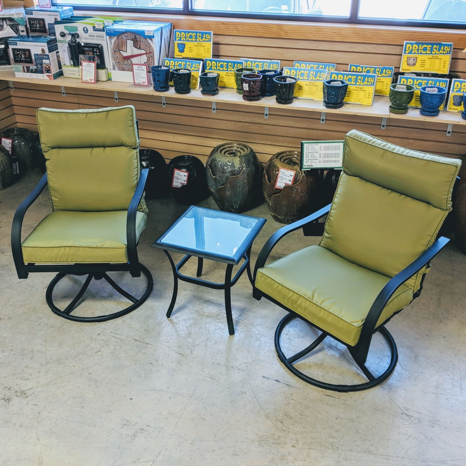 Deep Seat 3 Piece Rock Chair Set with Cushion