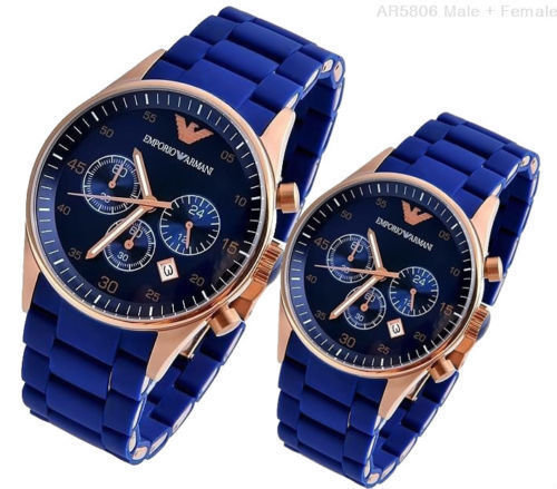 attraente Umido riparo  New Emporio Armani Analog Blue Dial Couple Watches (AR5806 ...