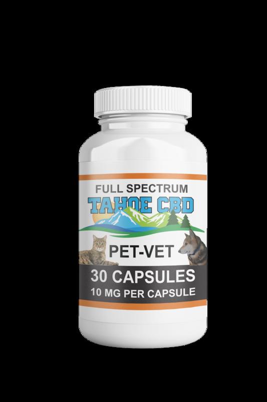 Tahoe CBD Full Spectrum Pet Vet Capsules 10mg/Capsule-30  Count