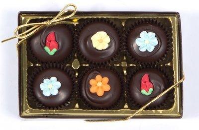 6 Piece Solid Decorated 58% Dark Chocolates