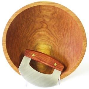 13-1/2 inch Cherry Chopping Bowl & Mezzaluna Knife - Bee's Oil Finish C113.5CB