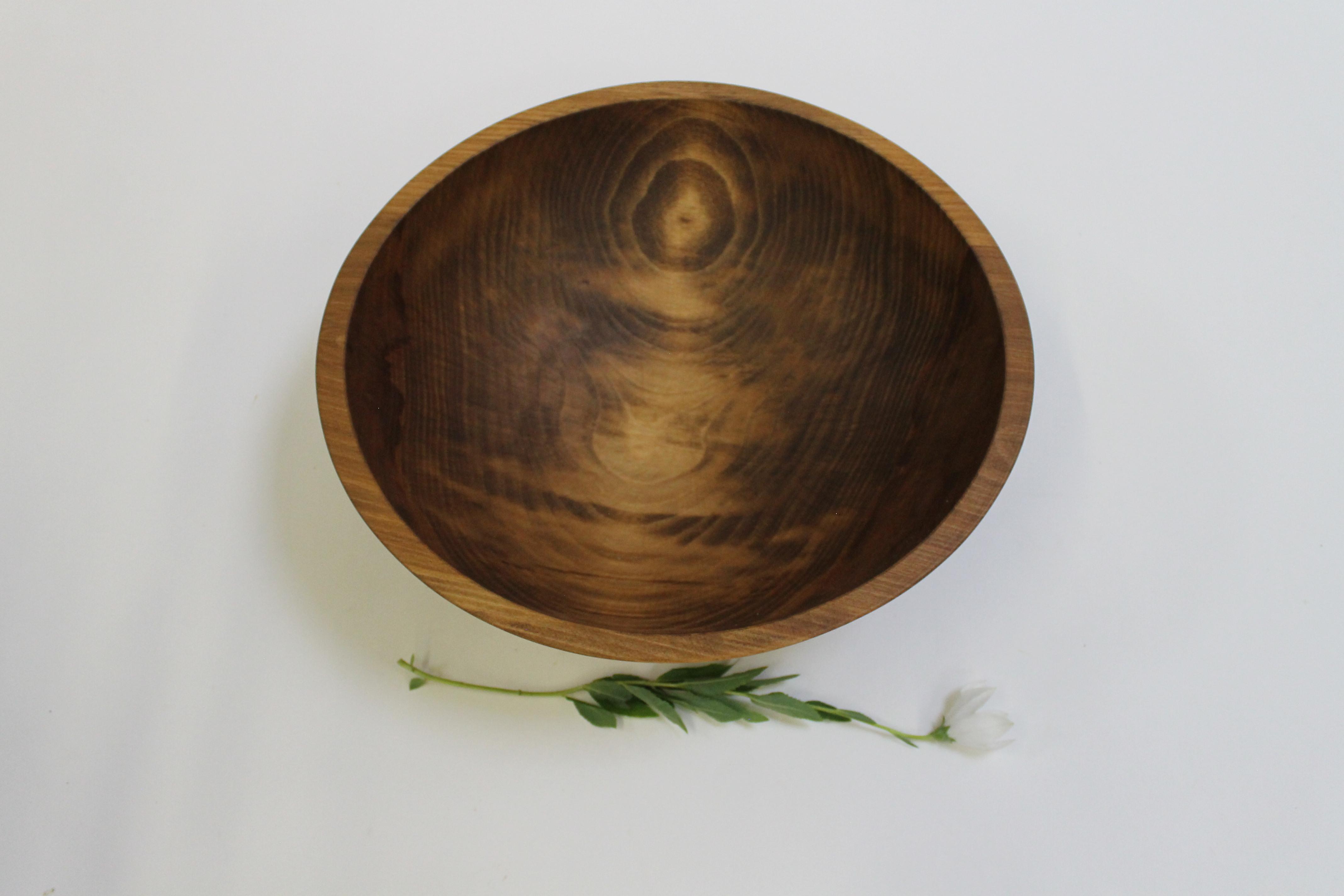 15 inch Beech Bowl - Dark Walnut & Bee's Oil Finish 115WBDK
