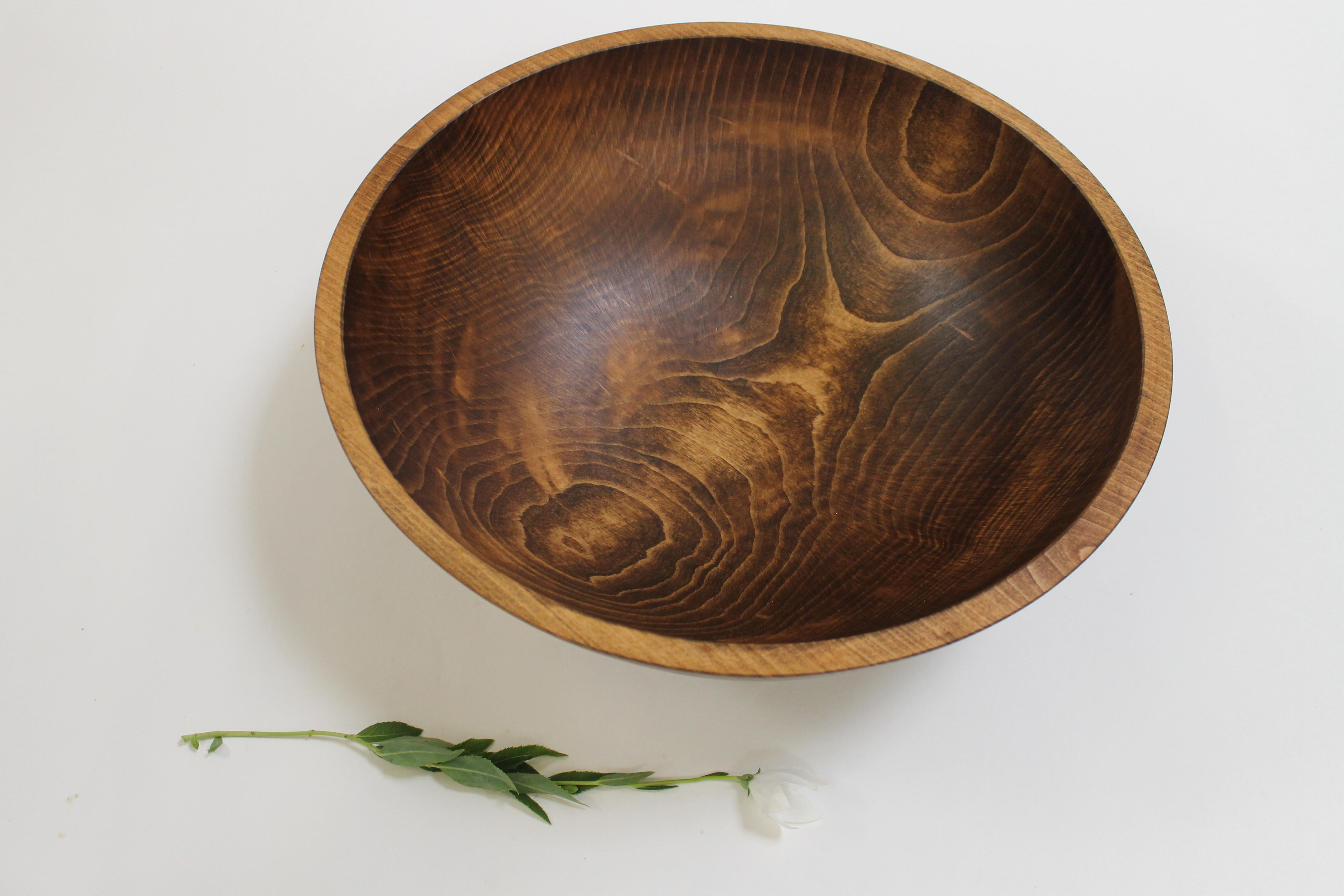 17 inch Beech Bowl - Dark Walnut & Bee's Oil Finish 117WBDK