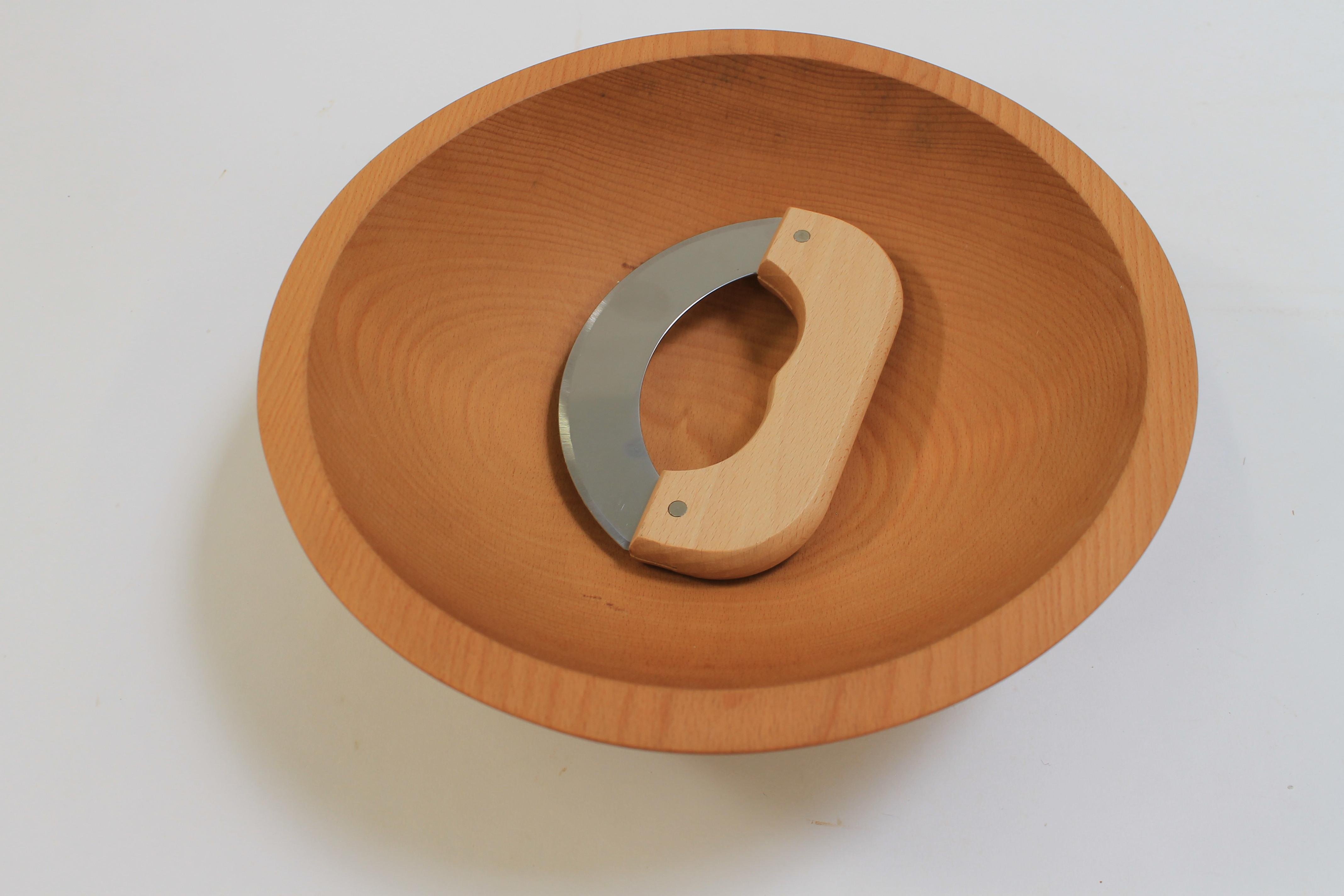 12 inch Beech Wood Chopping Bowl & Mezzaluna Knife Set - Bee's Oil Finish 112CB