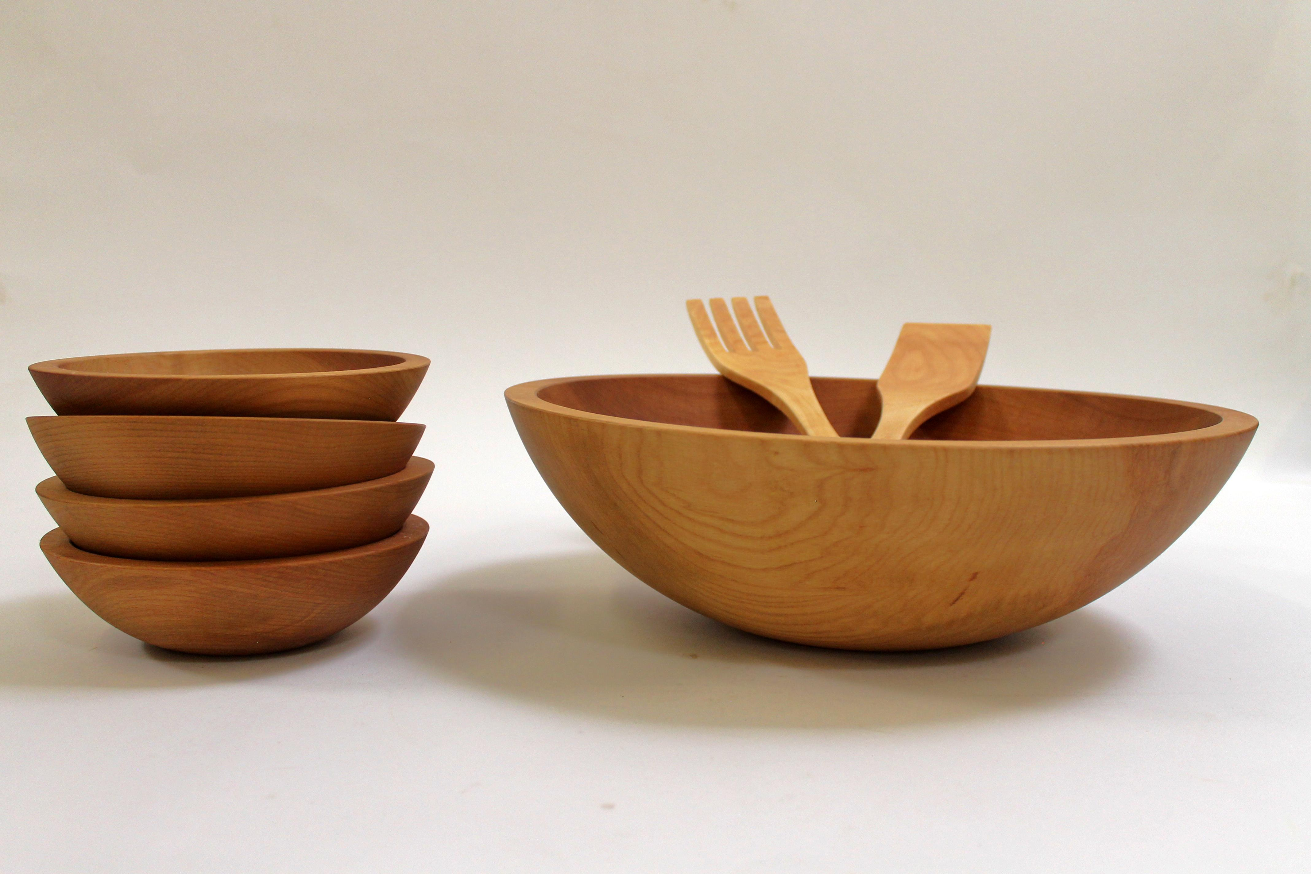 15 inch Beech Bowl Set - Light Walnut Finish 115WBLT5S