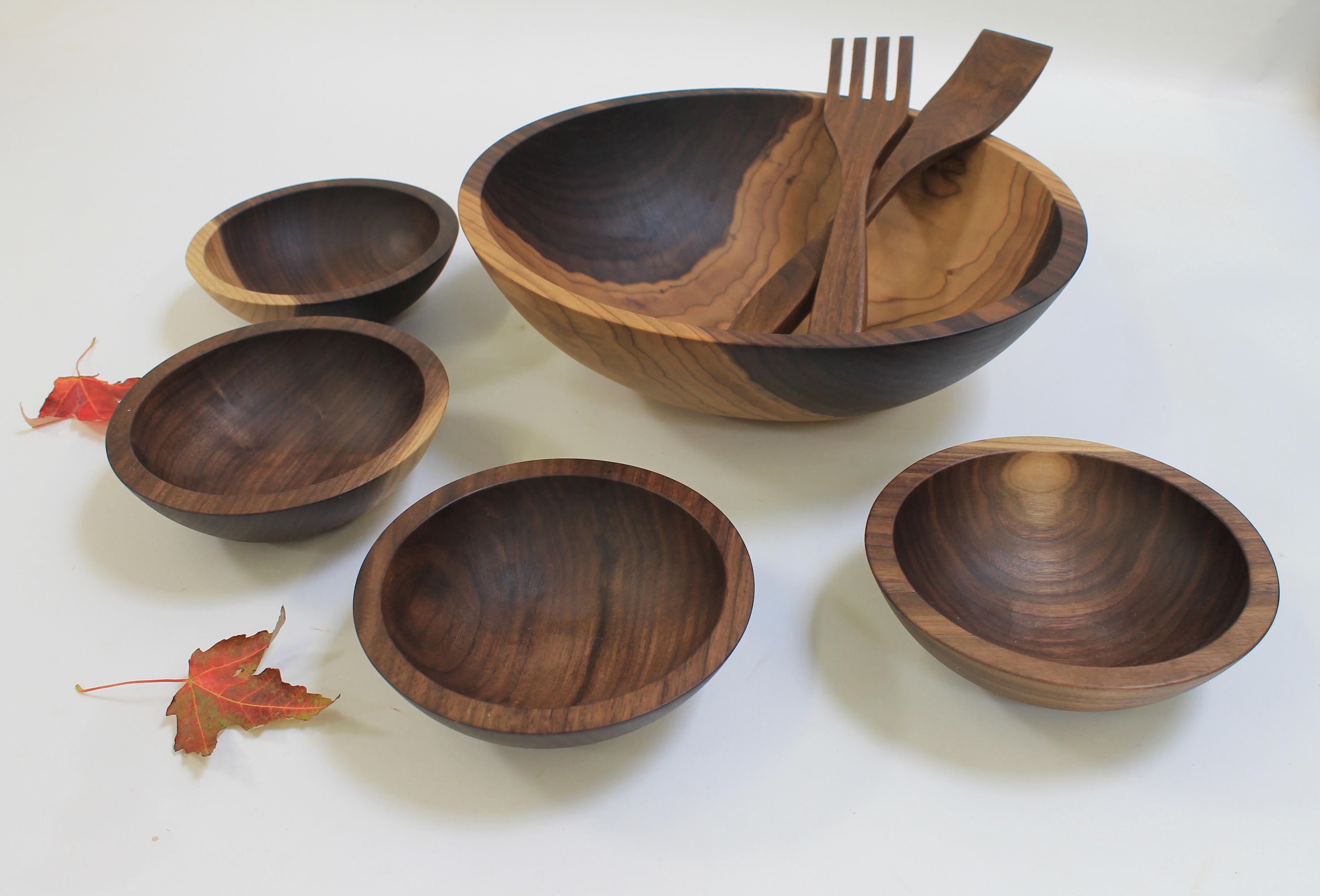 15 inch Walnut Bowl Set - Bee's Oil Finish W115B-5S