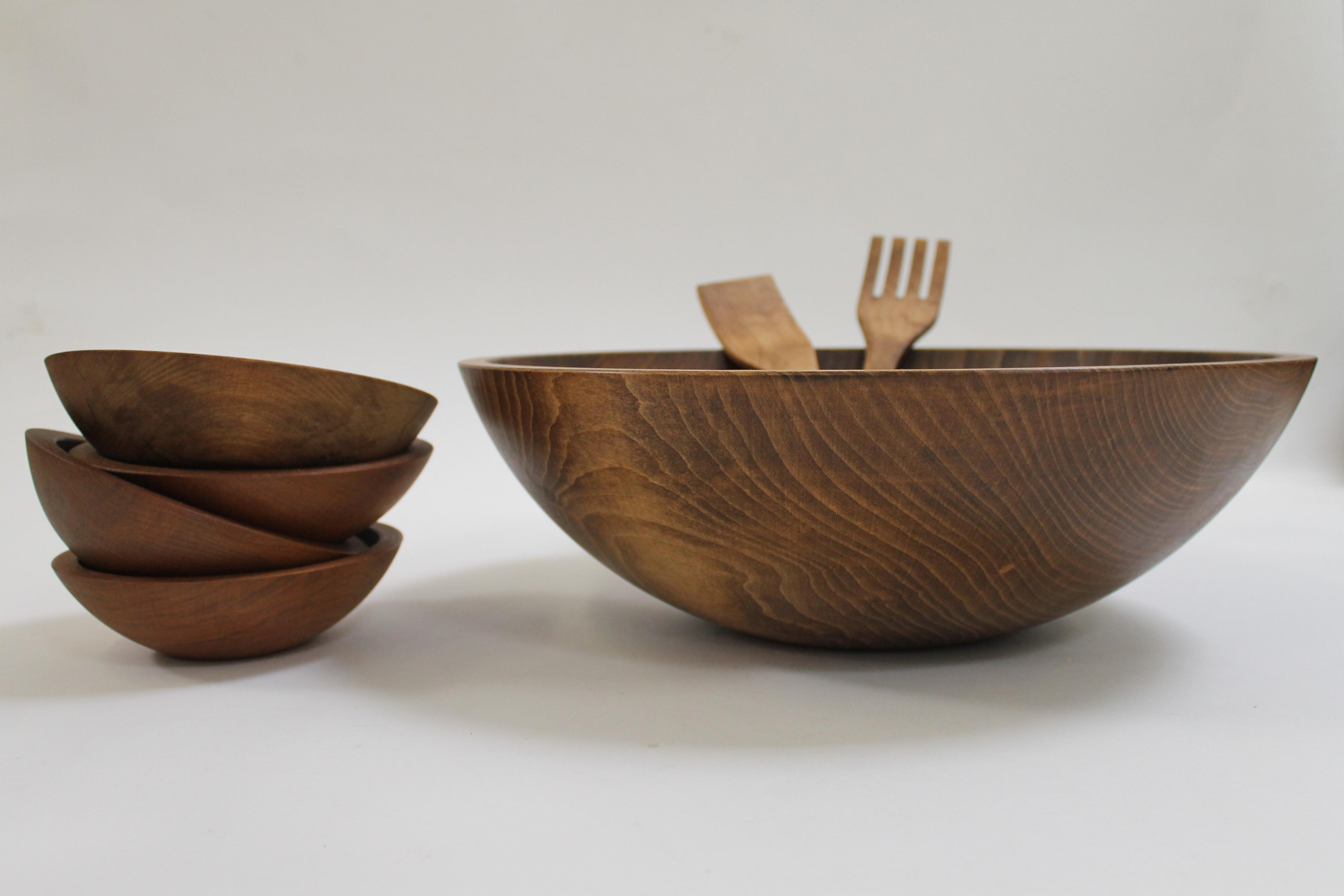 17 inch Beech Bowl Set - Dark Walnut Finish 117WBDK5S