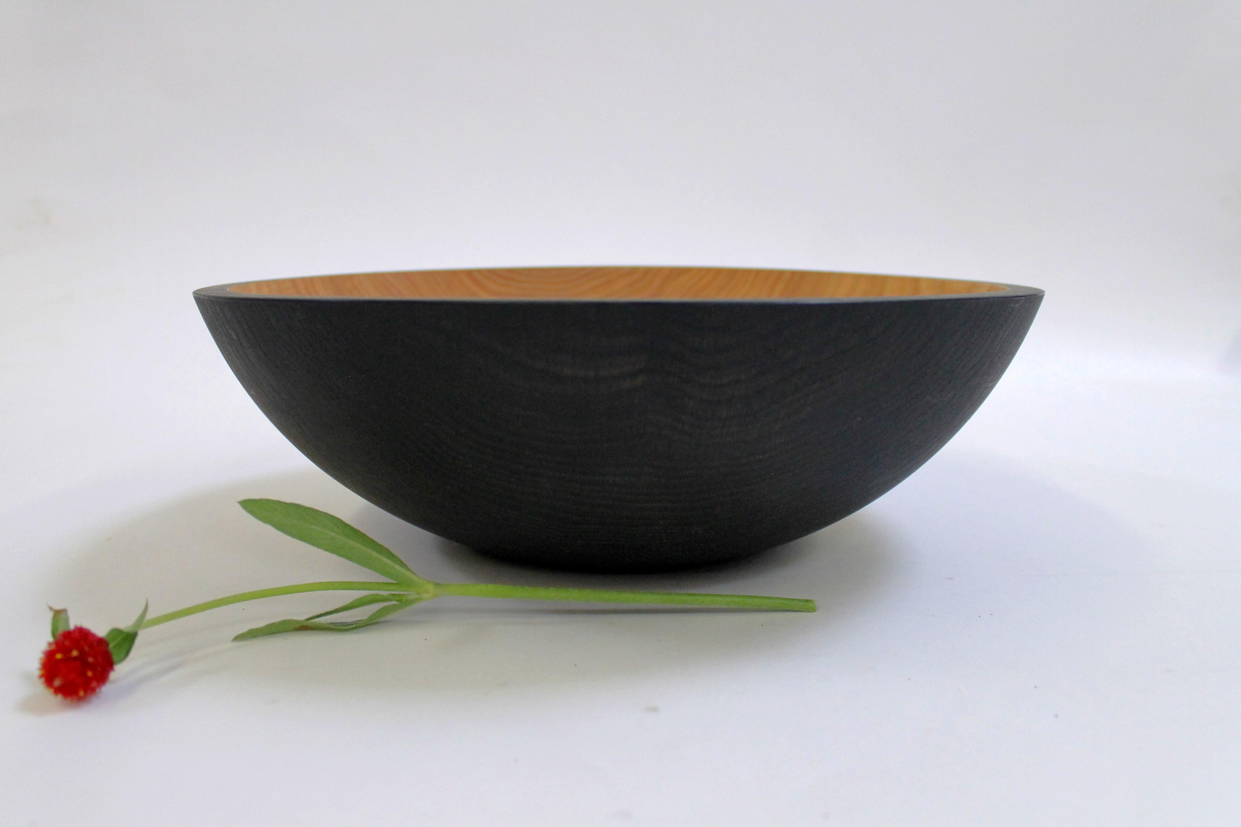 15 inch Ebonized Red Oak Bowl - Bee's Oil Finish ERO115B