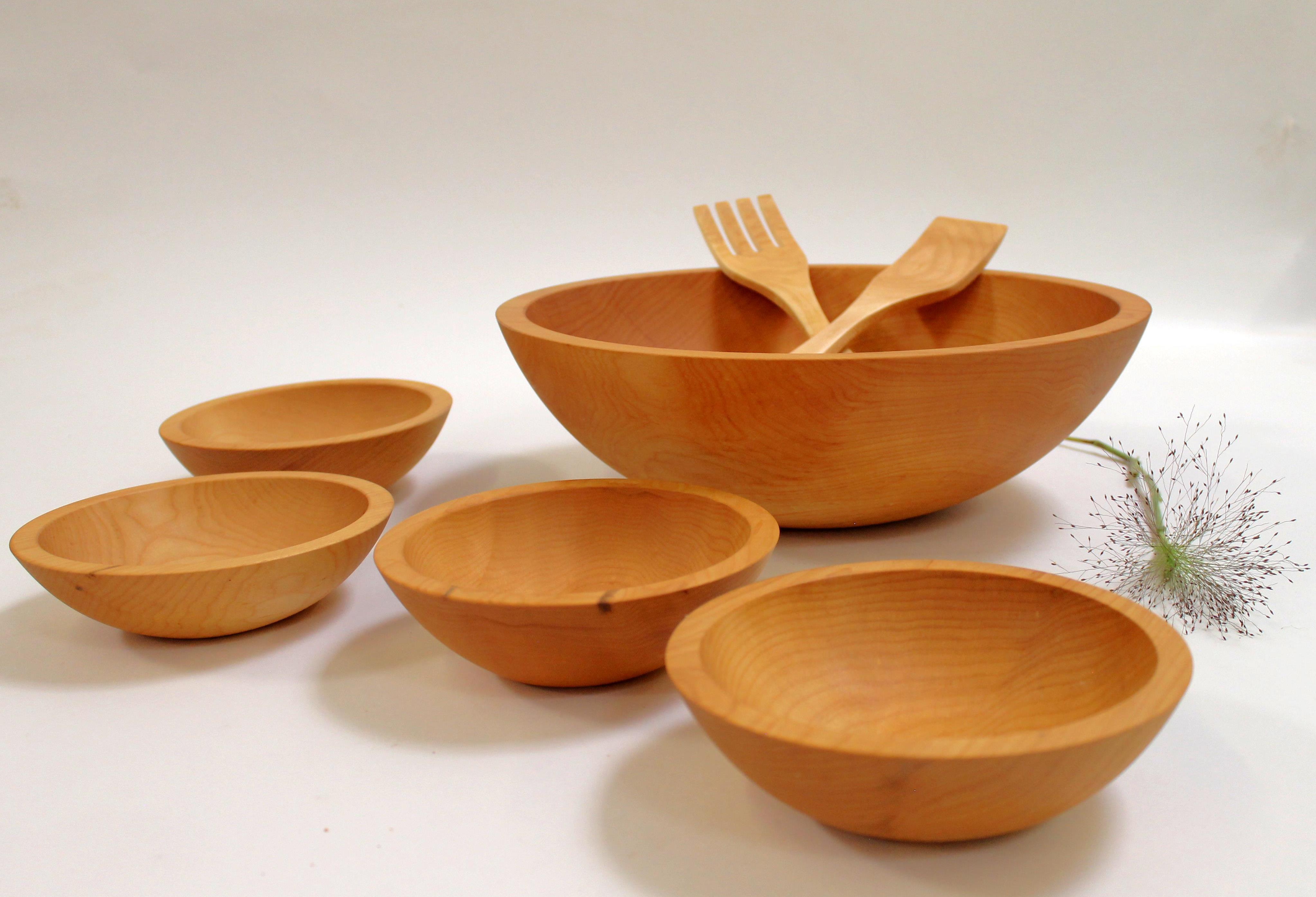 15 inch Maple Bowl Set - Bee's Oil Finish M115B5S