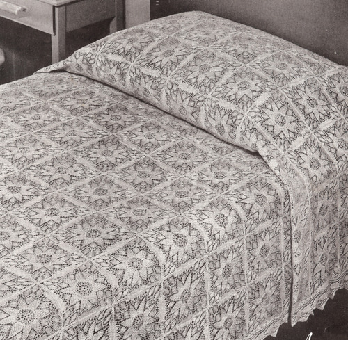 Vintage Lace Flower Motif Bedspread block Knitting PATTERN ...