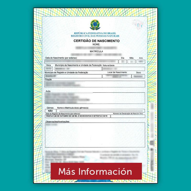 Apostilla Brasil - Certificado de Nacimiento - Aguia Tramites