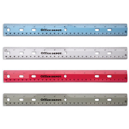"""Office Depot Brand Transparent Plastic Ruler For Binders, 12"""", Assorted Colors (No Color Choice)"""