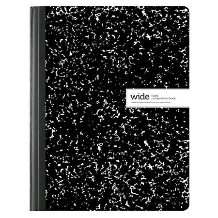 "Office Depot Brand Composition Book, 7 1/2"" x 9 3/4"", Wide Ruled, 100 Sheets, Assorted Black/White Designs (No Design Choice)"