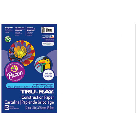 "Tru-Ray 50% Recycled Construction Paper, 12"" x 18"", White, Pack Of 50"
