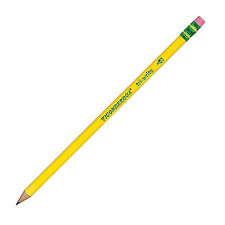 Ticonderoga Tri-Write Triangular No. 2 Pencils, Yellow, With Erasers, Pack Of 12