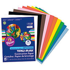 "Tru-Ray 50% Recycled Assorted Color Construction Paper, 9"" x 12"", Pack Of 50"