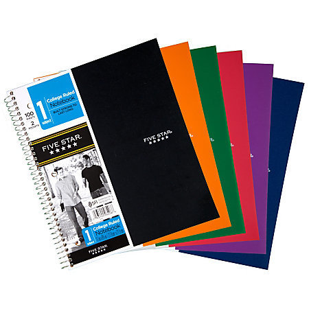 """Five Star Notebook With 2 Pockets, 8 1/2"""" x 11"""", 1 Subject, College Ruled, 100 Sheets, Assorted Colors (No Color Choice)"""