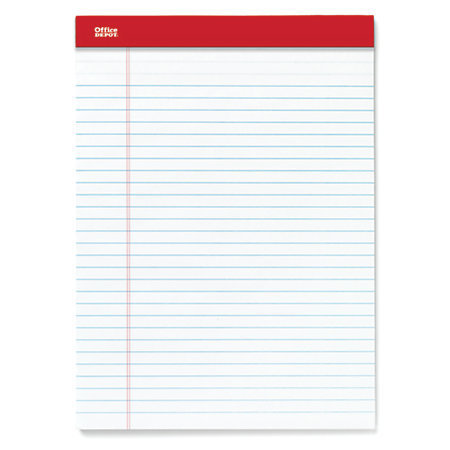 "Office Depot Brand Perforated Writing Pads, 8 1/2"" x 11 3/4"", Legal Ruled, 50 Sheets, White, Pack Of 12 Pads"