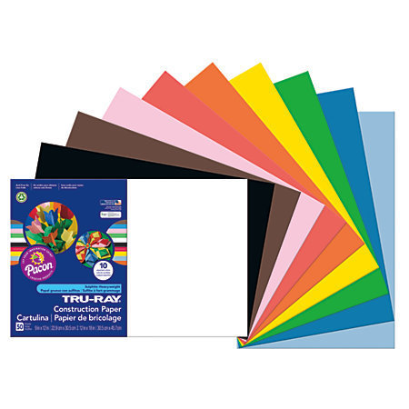 "Tru-Ray 50% Recycled Assorted Color Construction Paper, 12"" x 18"", Pack Of 50"