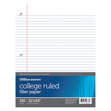 "Office Depot Brand Notebook Filler Paper, College-Ruled, 8 1/2"" x 11"", 3-Hole Punched, White, Pack Of 150"