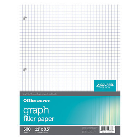 """Office Depot Brand Quadrille-Ruled Notebook Filler Paper, 8 1/2"""" x 11"""", White, Pack Of 500 Sheets"""