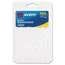 Avery Permanent Reinforcement Label - Polyvinyl - 560 / Pack - White