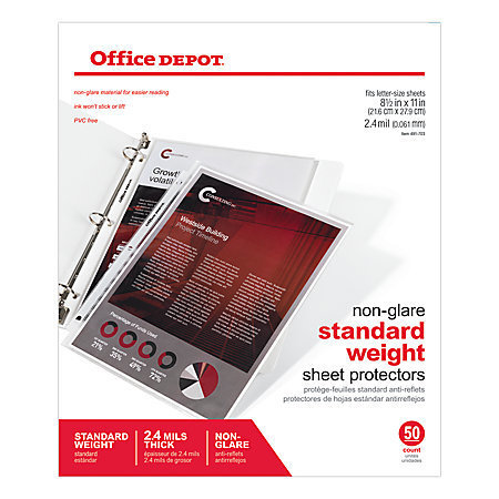 """Office Depot Brand Non-Glare Standard Weight Sheet Protectors, 8 1/2"""" x 11"""", Box Of 50"""