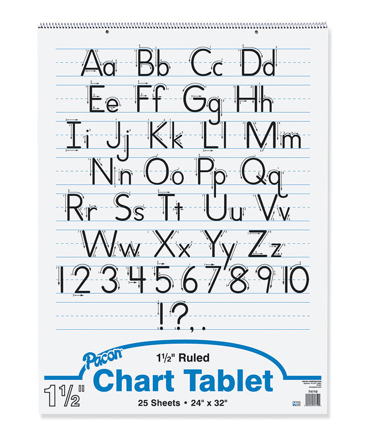 """Pacon Chart Tablet, 24"""" x 32"""", 1 1/2"""" Ruled, 25 Sheets"""
