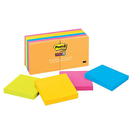 "Post-it 3"" x 3"" Super Sticky Notes, Rio De Janeiro Collection, 90 Sheets Per Pad, Pack Of 12 Pads"