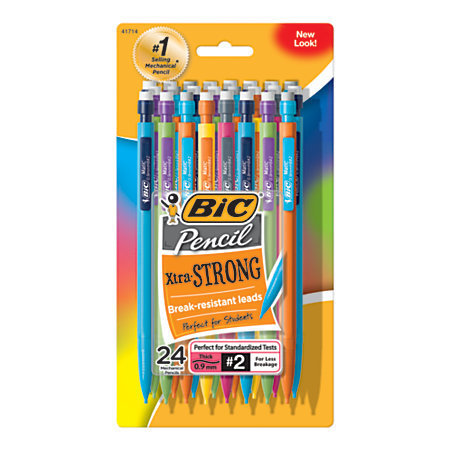 BIC Mechanical Pencils, Xtra Strong, 0.9 mm, Assorted Barrel Colors, Pack Of 24