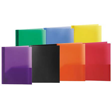"Office Depot® Brand 2-Pocket Poly Portfolios With Prongs, 8 1/2"" x 11"", Assorted Colors"