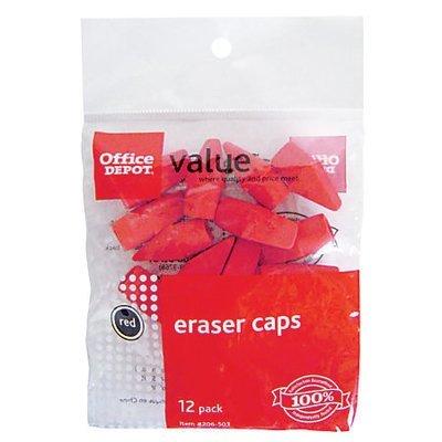 Office Depot Brand Eraser Caps, Red, Pack Of 12