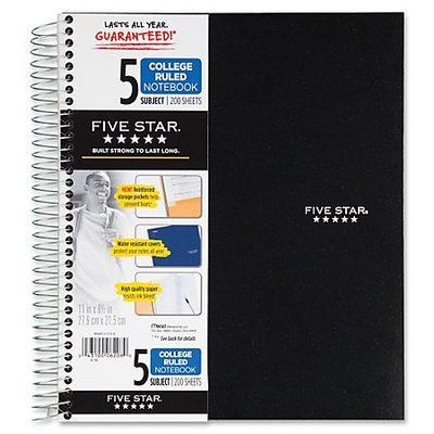Five Star Notebook With 8 Pockets, 8 1/2