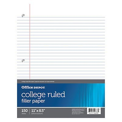 Office Depot Brand Notebook Filler Paper, College-Ruled, 8 1/2