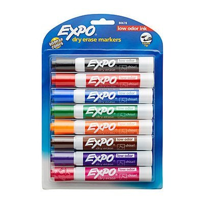 EXPO Low-Odor Dry-Erase Markers, Chisel Point, Assorted Colors, Pack Of 8