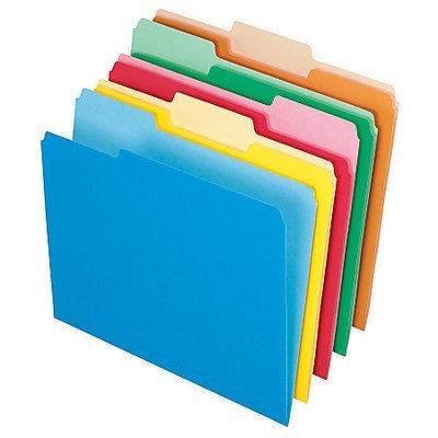Office Depot Brand File Folders, Letter, 1/3 Cut, Assorted Colors, Box Of 100