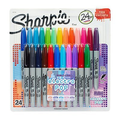 Sharpie Permanent Fine-Point Markers, Assorted Colors, Pack Of 24