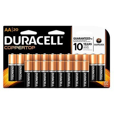 Duracell CopperTop MN1500B10Z General-Purpose AA Batteries, Pack Of 20