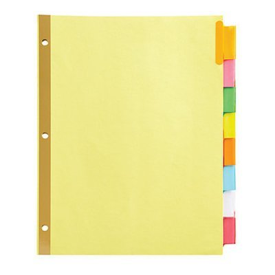 Office Depot® Brand Insertable Dividers With Big Tabs, Buff, Assorted Colors, 8-Tab