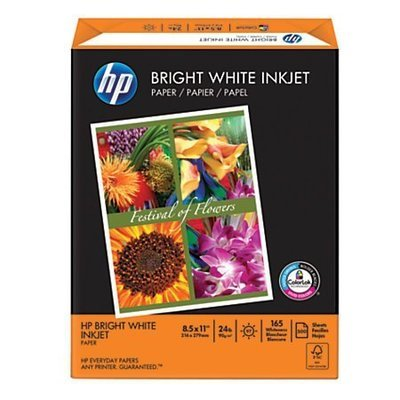 HP Bright White Inkjet Paper, Satin, 8 1/2
