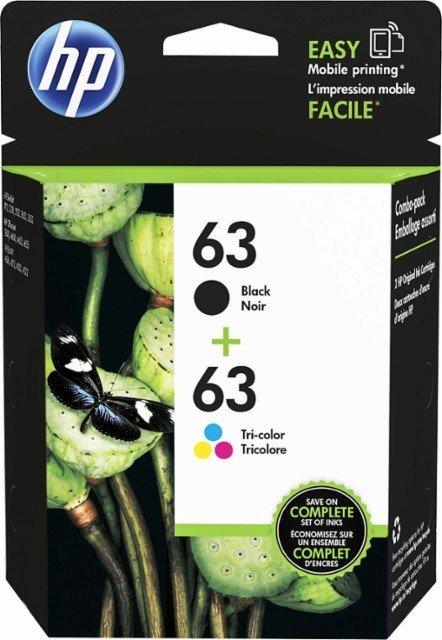 HP 63/63XL Black/Cyan/Magenta/Yellow Ink Cartridges (LOR48AN), Pack Of 2