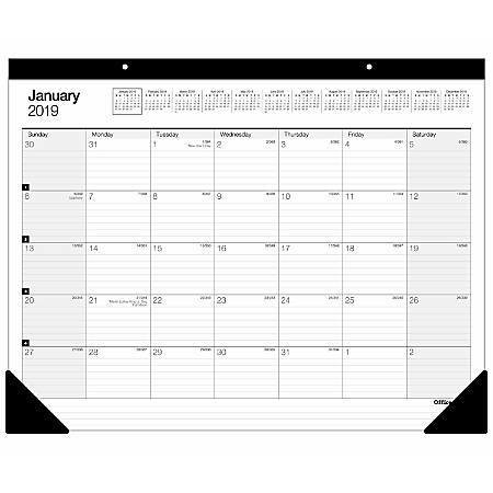 "Office Depot® Brand Large Monthly Desk Pad Calendar, 22"" x 17"", White, January To December 2020"