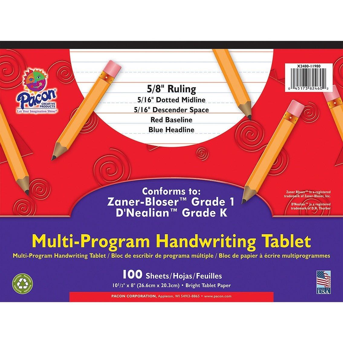 """Pacon® Zaner Bloser 1st Grade/D'Nealian Kindergarten Handwriting Paper, 10 1/2"""" x 8"""", 100 Sheets"""