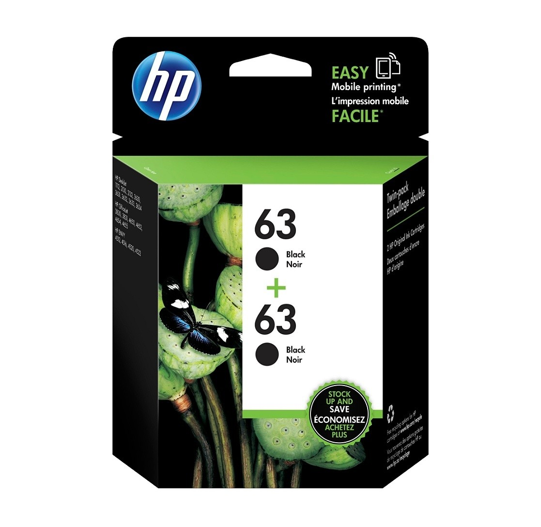 HP 63 Black Original Ink Cartridges (T0A53AN), Pack Of 2