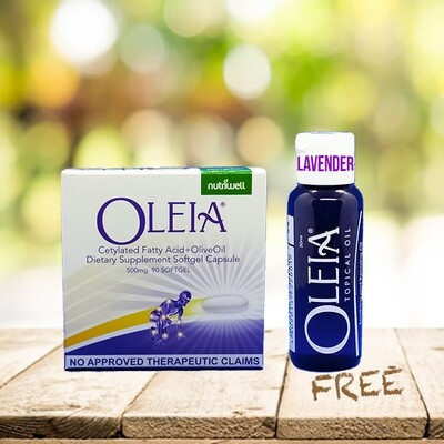 Oleia Softgels 500mg-1 box (90 softgels) with Oleia Oil 50ml Free