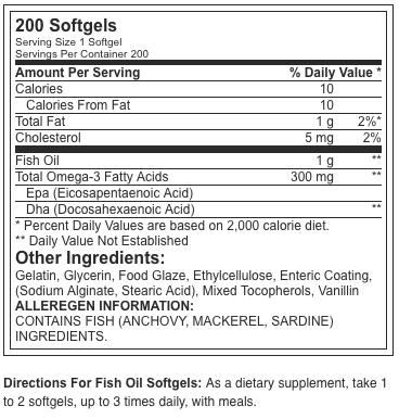 Optimum Nutrition Enteric Fish Oil 200 softgels