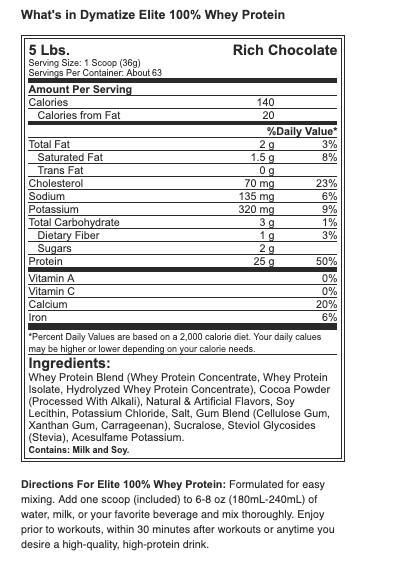 Dymatize Elite 100% Whey Protein - 5 lbs